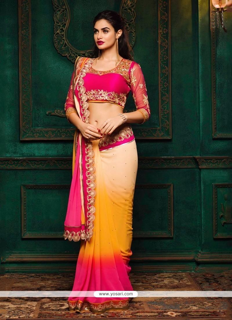 Ravishing Georgette Multi Colour Patch Border Work Classic Designer Saree