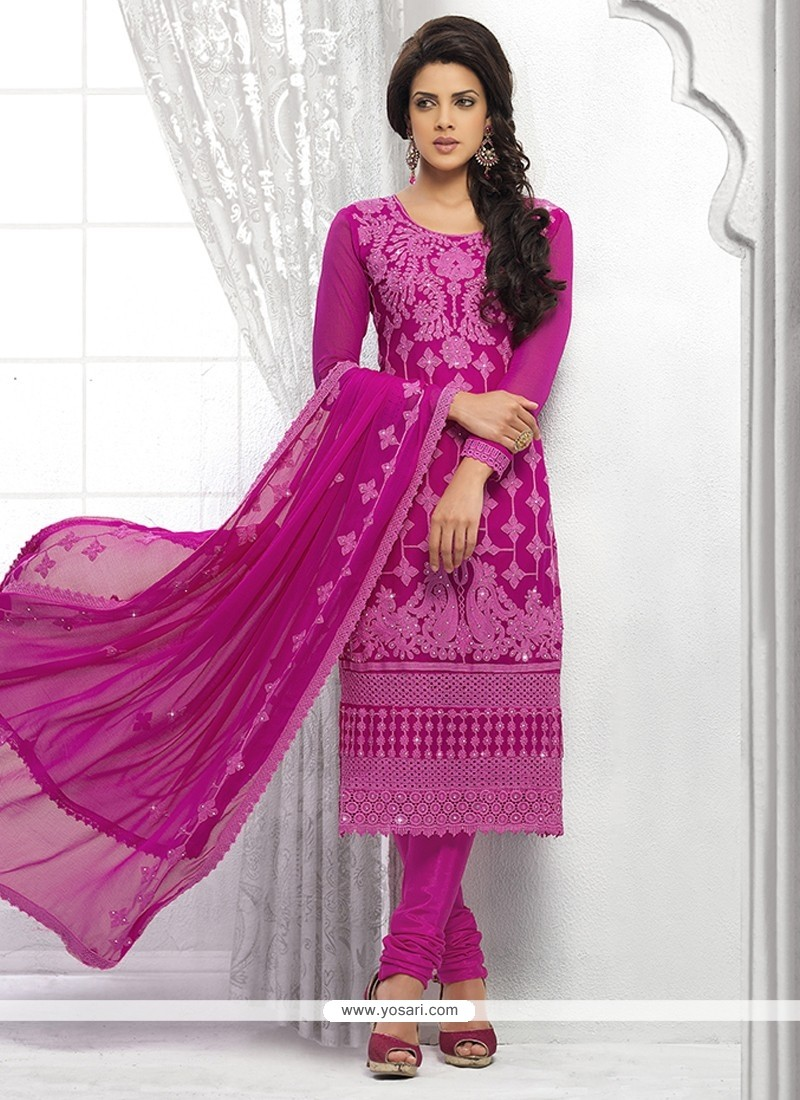 Magenta Pure Chiffon Churidar Suit