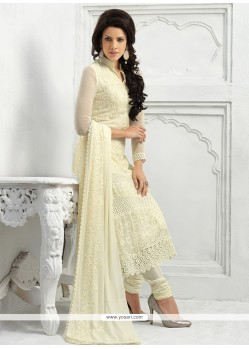 Cream Pure Chiffon Churidar Salwar Suit