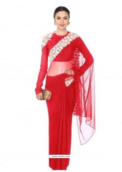 Eye-catchy Embroidered Work Raw Silk Designer Saree