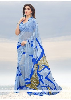 Resplendent Print Work Casual Saree