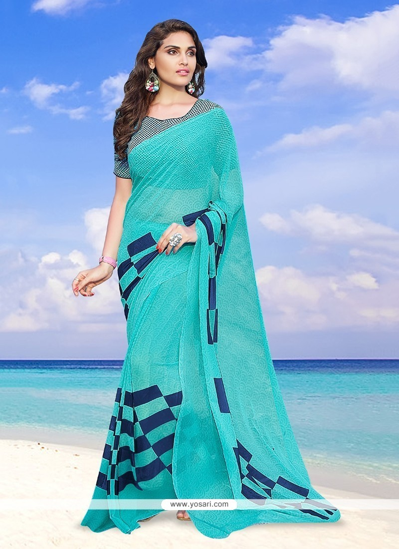 Hypnotizing Georgette Print Work Printed Saree