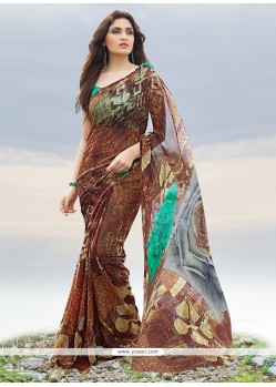 Observable Brown Print Work Georgette Casual Saree