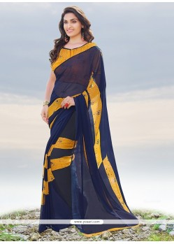 Intriguing Navy Blue Print Work Casual Saree