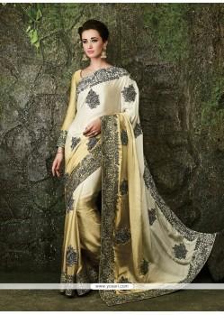 Embroidered Satin Designer Bridal Sarees In Cream