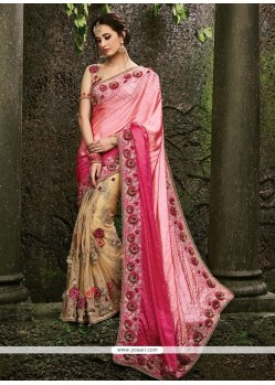 Gleaming Beige And Rose Pink Satin Designer Bridal Sarees
