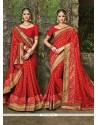 Entrancing Pure Chiffon Red Patch Border Work Designer Bridal Sarees