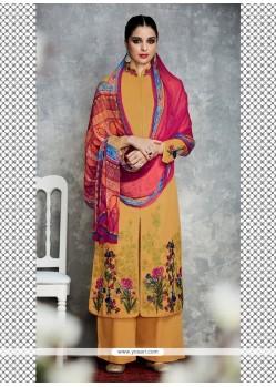Latest Embroidered Work Cotton Satin Designer Palazzo Salwar Kameez