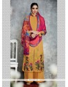 Latest Embroidered Work Cotton Satin Designer Palazzo Salwar Kameez