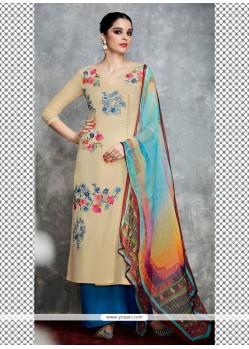 Elite Cotton Satin Cream Designer Palazzo Salwar Kameez