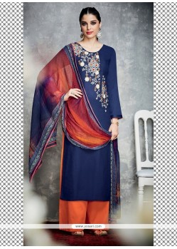Riveting Navy Blue Resham Work Cotton Satin Designer Palazzo Salwar Kameez