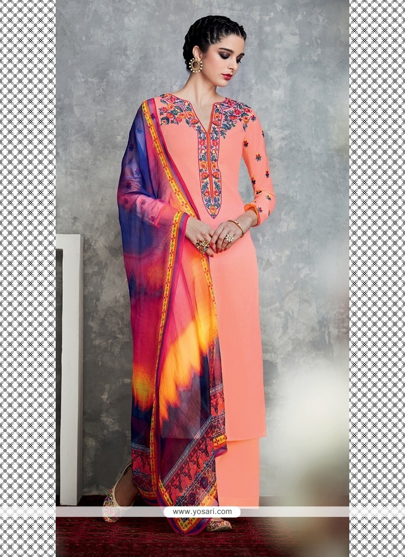 Mystic Embroidered Work Peach Cotton Satin Designer Suit