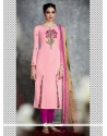 Pink Cotton Satin Churidar Designer Suit