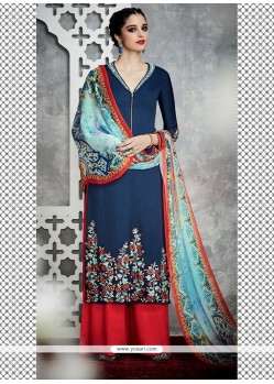 Renowned Cotton Satin Designer Palazzo Salwar Kameez