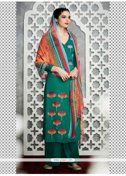 Urbane Green Cotton Satin Designer Palazzo Salwar Kameez