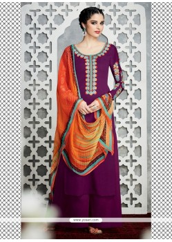 Enticing Purple Embroidered Work Designer Palazzo Salwar Kameez