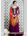Enticing Purple Embroidered Work Designer Palazzo Salwar Kameez