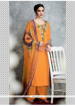 Attractive Embroidered Work Orange Designer Palazzo Salwar Kameez