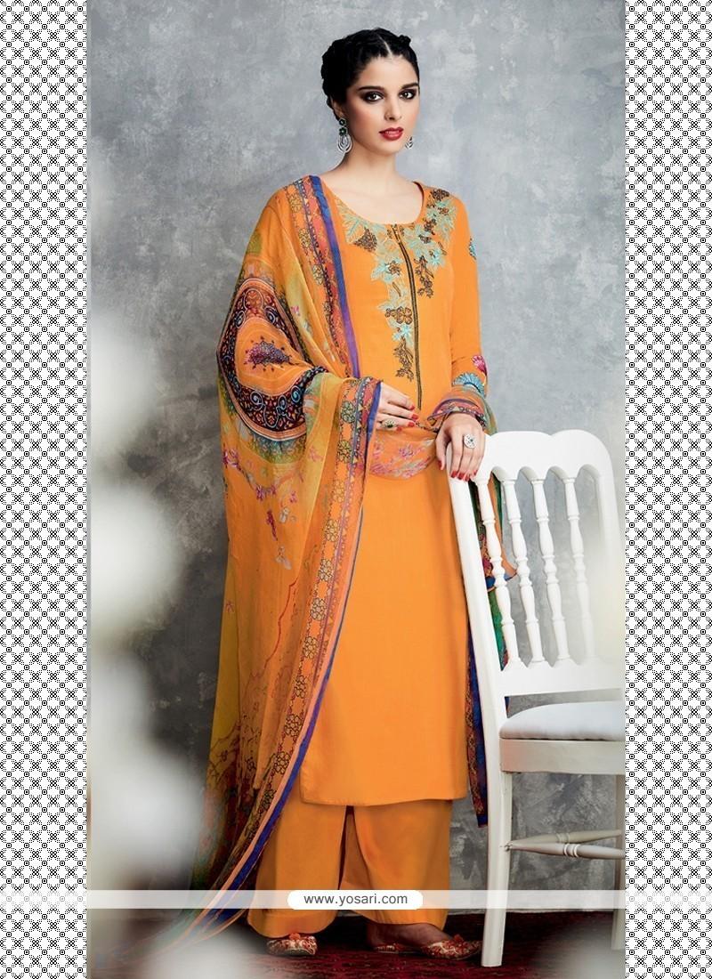 Attractive Embroidered Work Orange Designer Palazzo Salwar Kameez