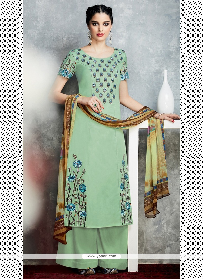 Fascinating Cotton Satin Designer Palazzo Salwar Kameez