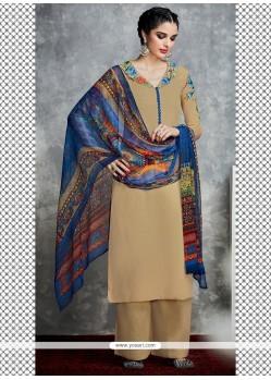 Voluptuous Embroidered Work Beige Cotton Satin Designer Palazzo Salwar Kameez