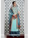 Snazzy Resham Work Blue Cotton Satin Designer Palazzo Salwar Kameez