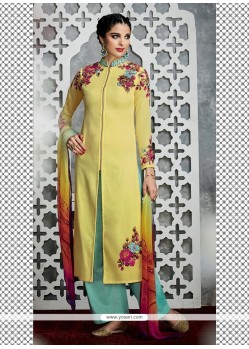 Refreshing Resham Work Cotton Satin Yellow Designer Palazzo Salwar Kameez