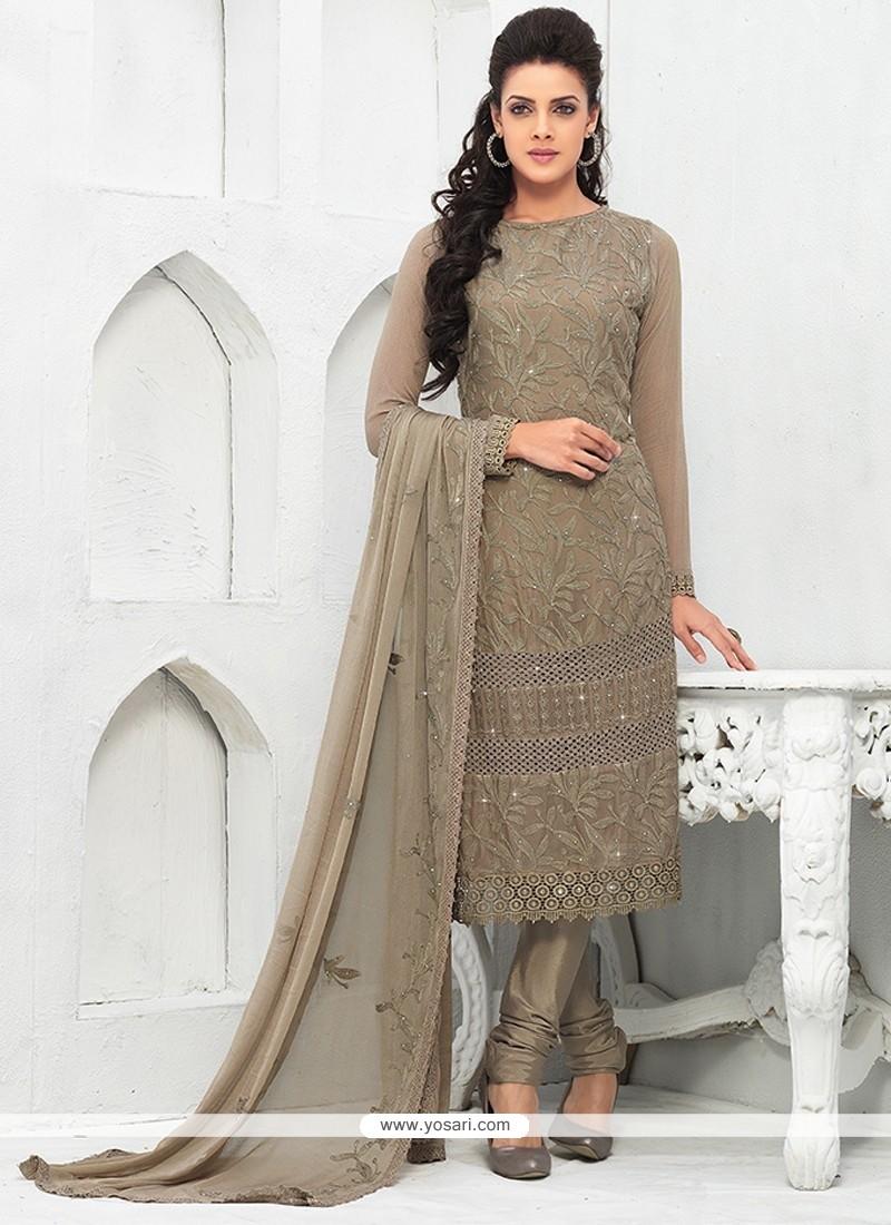 Dazzling Grey Pure Chiffon Salwar Suit