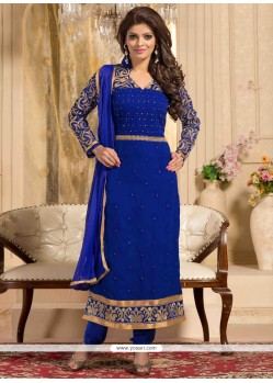 Blue Georgette Churidar Salwar Kameez