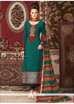 Embroidered Faux Crepe Churidar Designer Suit In Green
