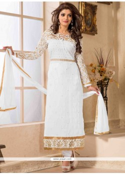 White Zari Work Churidar Suit
