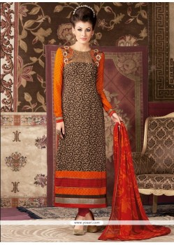 Superb Embroidered Work Faux Crepe Churidar Designer Suit