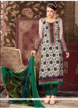 Specialised Faux Crepe Green Churidar Designer Suit