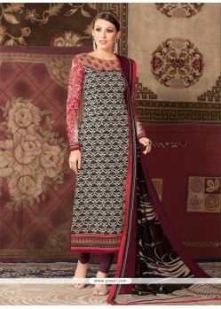 Majestic Faux Crepe Print Work Churidar Designer Suit