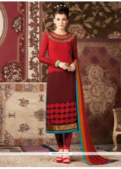 Simplistic Embroidered Work Red Faux Crepe Churidar Designer Suit