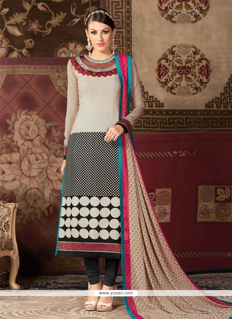 Paramount Embroidered Work Churidar Designer Suit