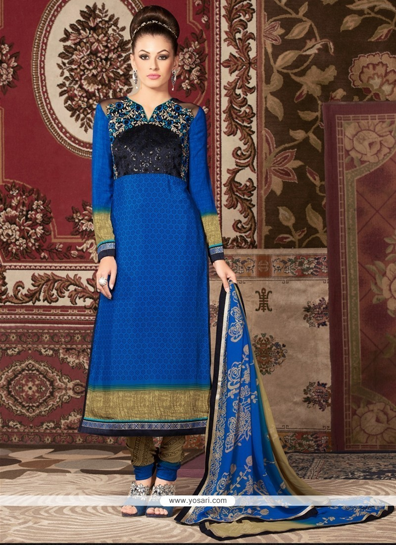 Urbane Embroidered Work Churidar Designer Suit