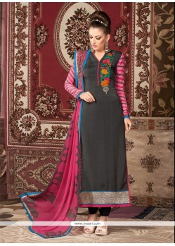 Incredible Grey Embroidered Work Churidar Designer Suit