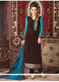 Aamna Sharif Brown Lace Work Churidar Designer Suit