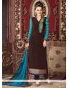 Aamna Sharif Brown Lace Work Churidar Designer Suit