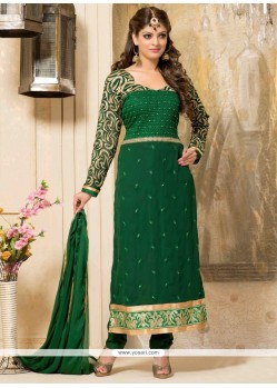 Magnificent Green Georgette Churidar Suit