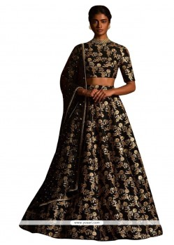 Paramount Raw Silk Black A Line Lehenga Choli