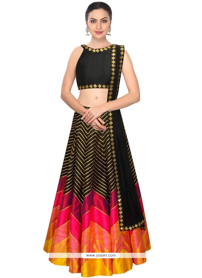 Scintillating Black Net Designer Lehenga Choli