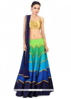 Catchy Raw Silk Multi Colour Designer Lehenga Choli
