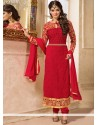 Red Georgette Churidar Salwar Kameez