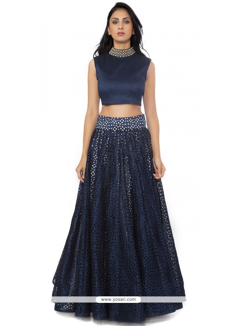 Gripping Raw Silk Navy Blue Embroidered Work Designer Lehenga Choli