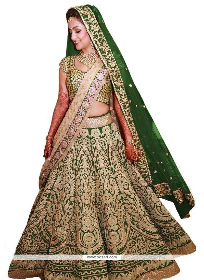 Pleasing Green Raw Silk A Line Lehenga Choli