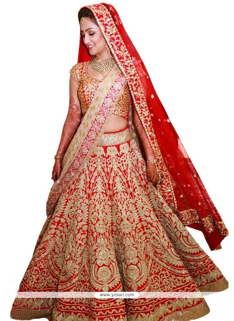 Modest Red Raw Silk A Line Lehenga Choli