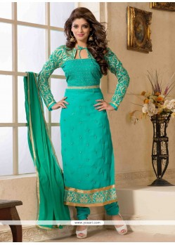 Sea Green Georgette Churidar Salwar Kameez