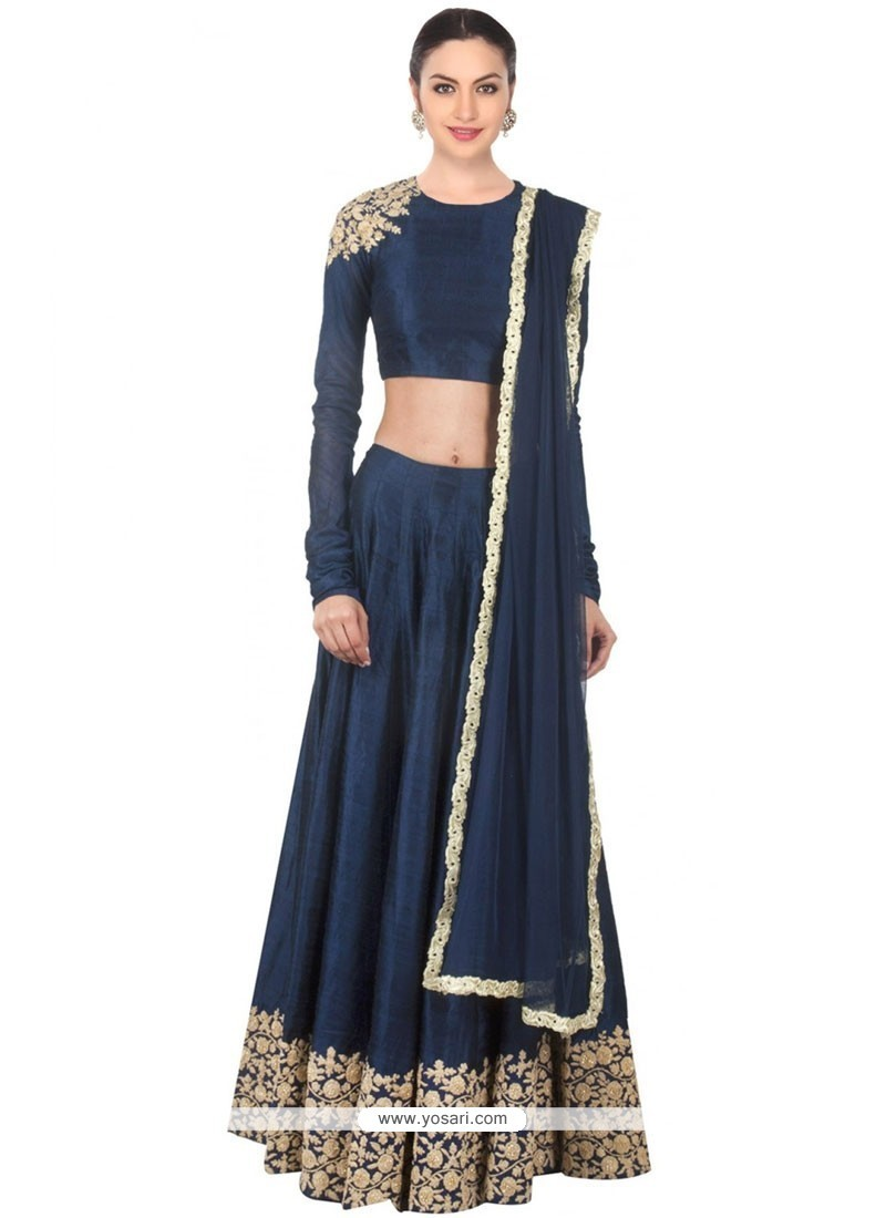 Prime Navy Blue Embroidered Work Designer Lehenga Choli